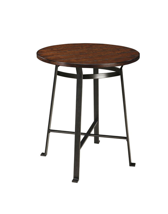 Challiman - Rustic Brown - Round DRM Counter Table