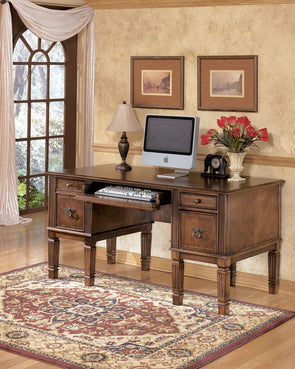 Hamlyn - Medium Brown - Home Office Storage Leg Desk