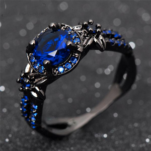 Luxxurio Deep Blue Gem Round Ring