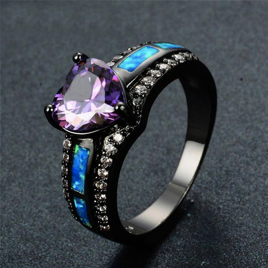 Luxxurio Charm Multicolor Heart Zircon Opal Ring