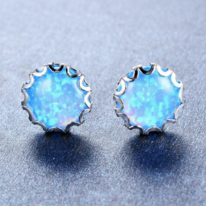 Luxxurio Fire Opal Stud Earrings