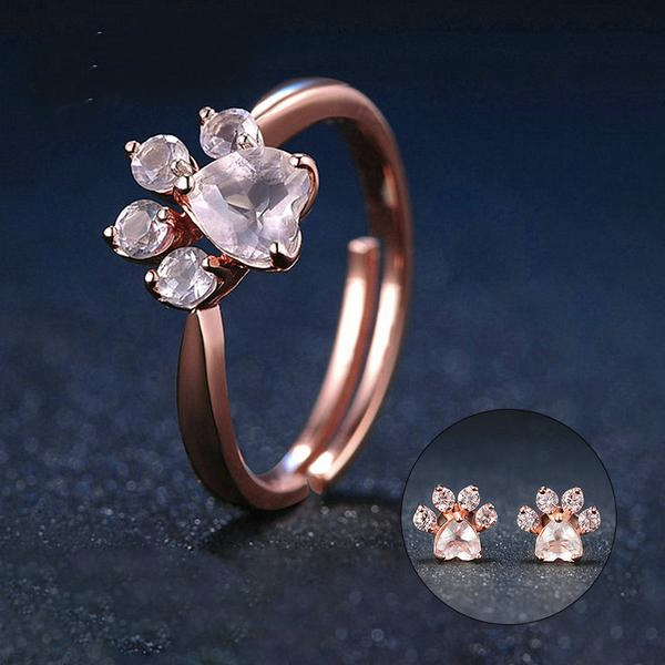 Luxxurio Rose Gold Stud Earrings Jewelry Set