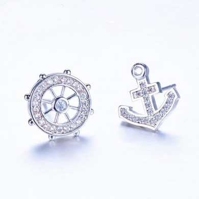 Luxxurio Anchor Rudder Stud Earrings - Luxxurio