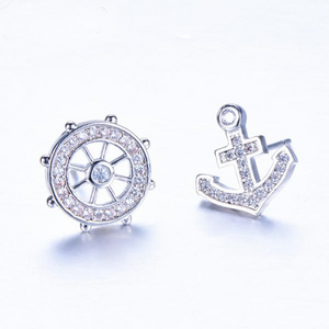 Luxxurio Anchor Rudder Stud Earrings
