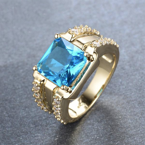 Luxxurio Light Blue Square Gem Gold Plated Ring