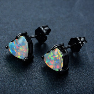 Luxxurio White Fire Opal Stud Heart Earrings