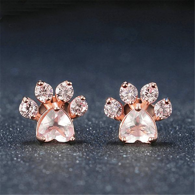 Luxxurio Rose Gold Paw Stud Earrings