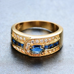 Luxxurio Blue Gem Gold Plated Ring