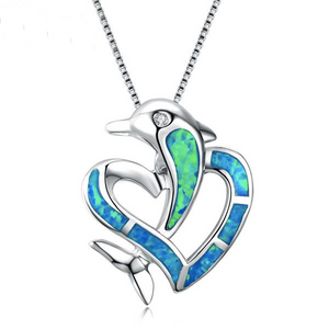 Luxxurio Blue Fire Opal Dolphin & Heart Crossed Necklace