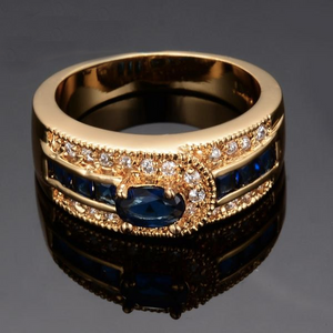 Luxxurio Deep Blue Gem Gold Plated Ring