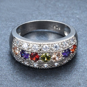 Luxxurios Bohemian Multi-Coloured Round Ring