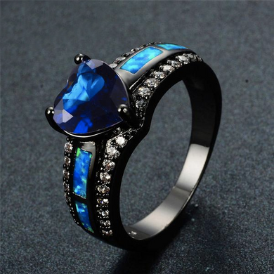 Luxxurio Blue Fire Heart Birthstone Rings