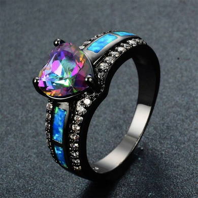 Luxxurio Bohemian Blue Fire Opal Heart Ring