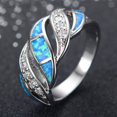 Luxxurio Blue Fire Opal Ring