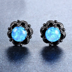 Luxxurio Blue Round Fire Opal Stud Earrings