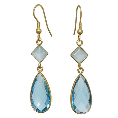 Luxxurio Gold-overlay Glass Earrings - Luxxurio