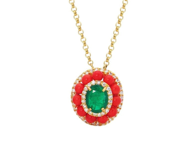 Luxxurio Collins Ave Emerald Doublet & Coral Necklace