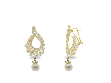 Luxxurio Victorian Brilliance Omega Drop Earrings