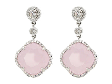Luxxurio Rose Zirconia Stone Clover Dangle Earrings - Luxxurio