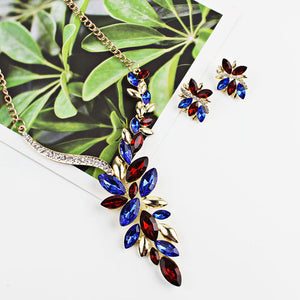 Luxxurio Multicolor Leaf Jewellery Set