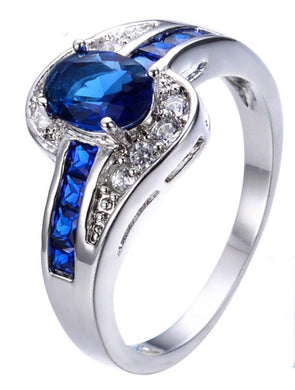 Luxxurio Blue Oval Ring