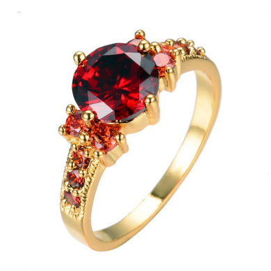 Luxxurio Red Ruby Gem Gold Plated Ring