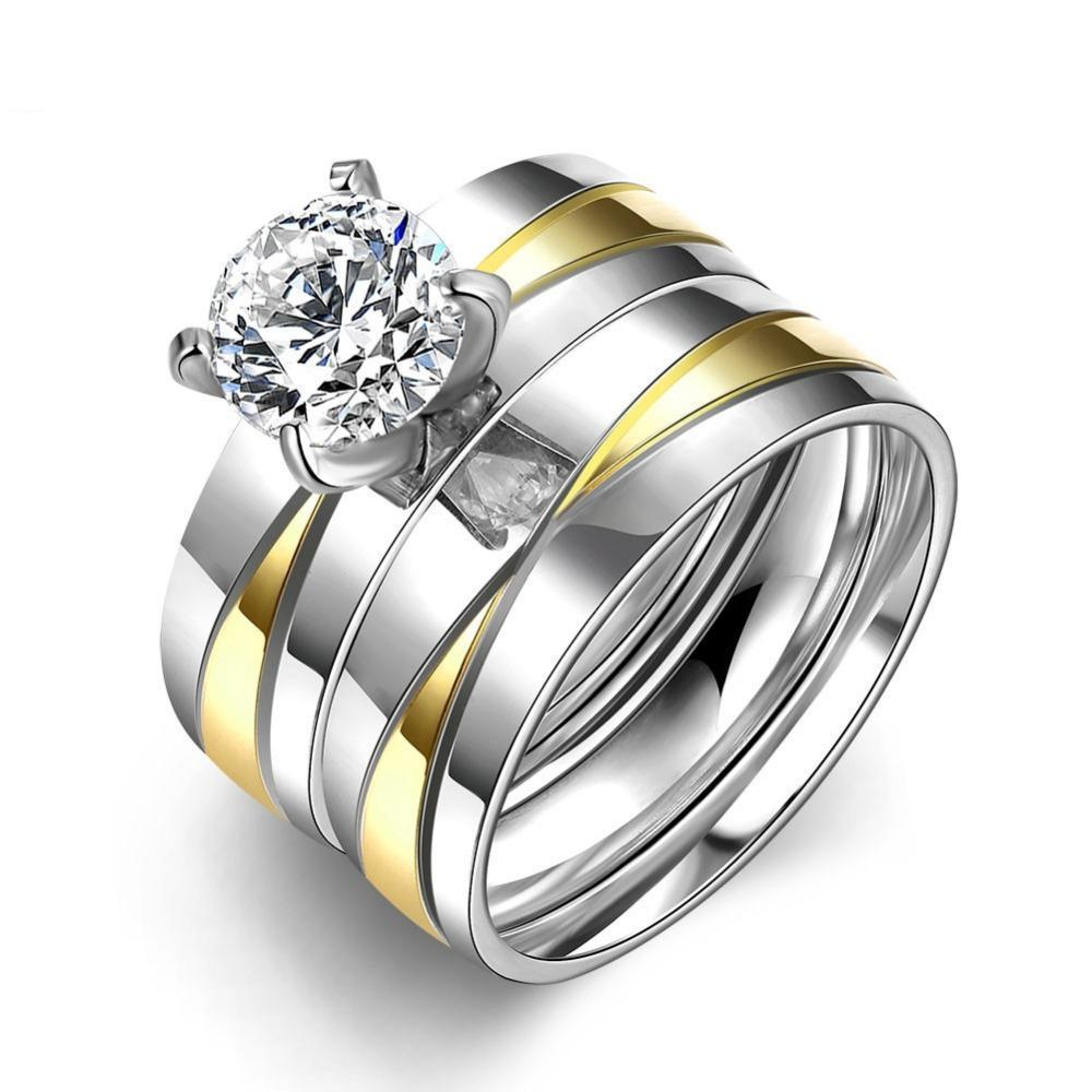 Luxxurio Crystal Silver Wedding Stainless Steel Ring