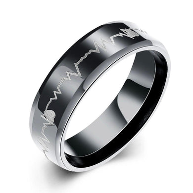 Luxxurio Black Heartbeat Titanium Steel Ring