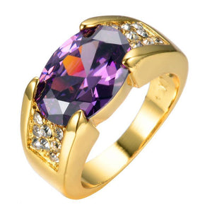 Luxxurio Purple Gold Plated Ring
