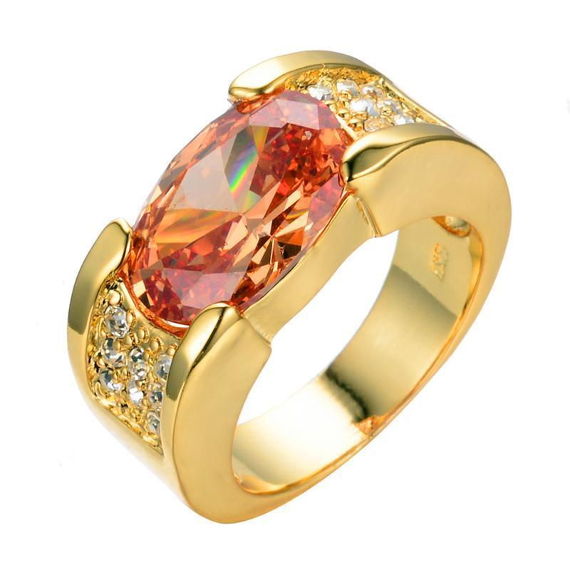 Luxxurio Champagne Oval Gold Plated Ring