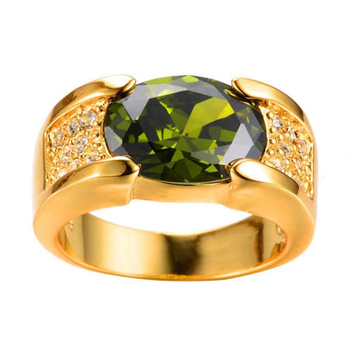 Luxxurio Green Peridot Oval Gold Plated Ring