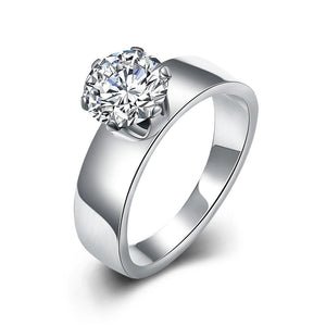 Luxxurio Silver Wedding Stainless Steel Ring