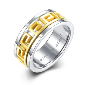 Luxxurio Gold Grain Titanium Steel Ring