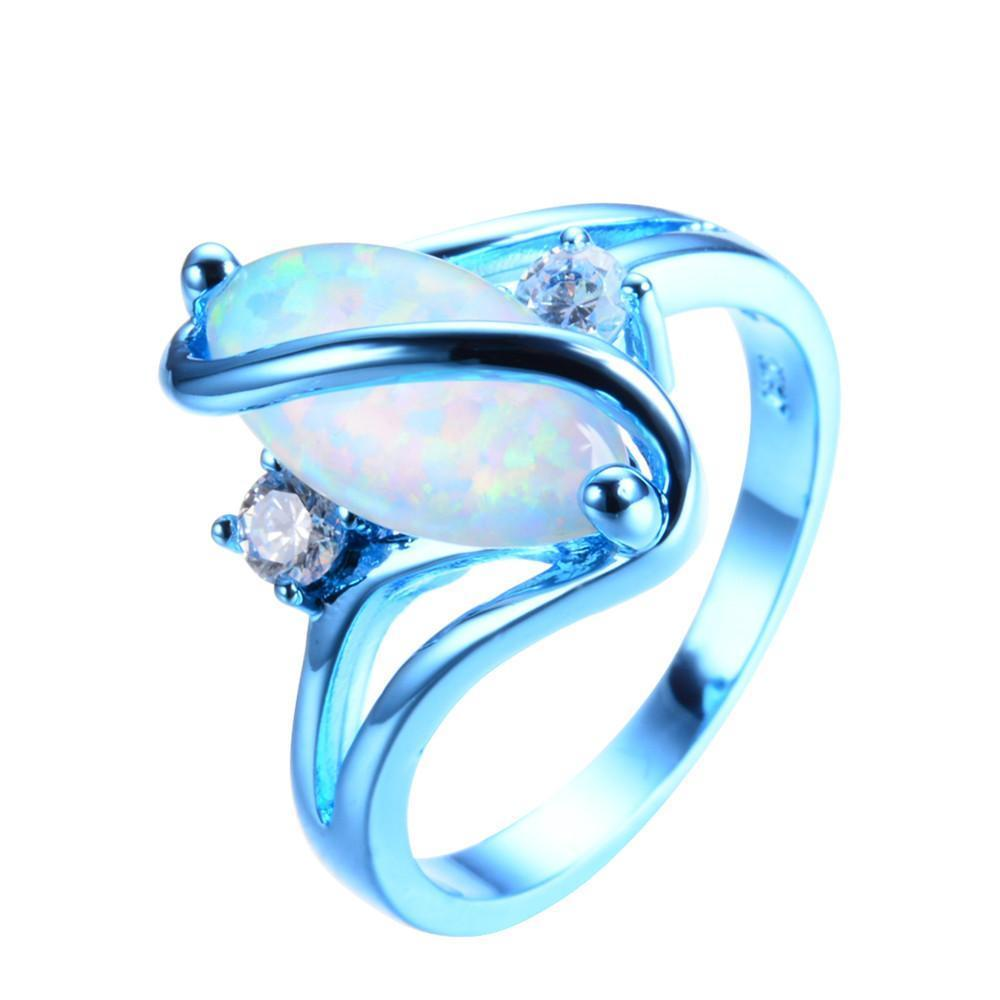 Luxxurio White Fire Opal Ring