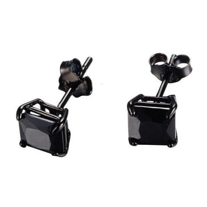 Luxxurio Deep Black Square Gem Earrings