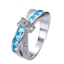 Luxxurio Light Blue Cross Ring