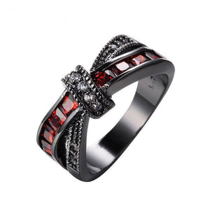Luxxurio Mystery Red Cross Ring