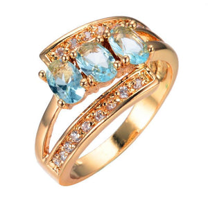Luxxurio Oval Light Blue Gold Plated Ring - Luxxurio