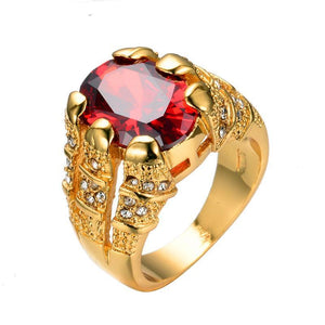 Luxxurio Red Stone Gold Plated Ring - Luxxurio