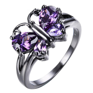 Luxxurio Purple Butterfly Zircon Ring
