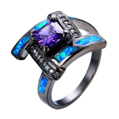 Luxxurio Blue Opal Purple Gem Ring