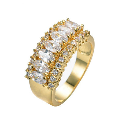 Luxxurio White Gem Gold Plated Rings