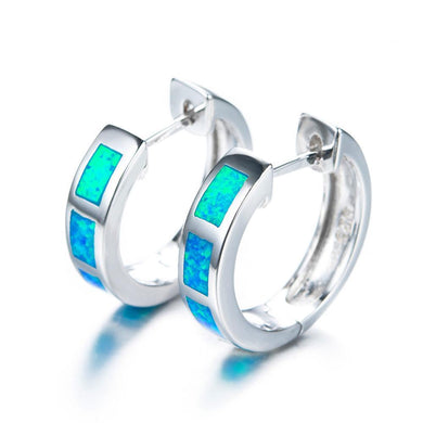 Luxxurio Blue Round Fire Opal Loop Earrings