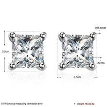 Luxxurio Silver Zircon Stud Earrings