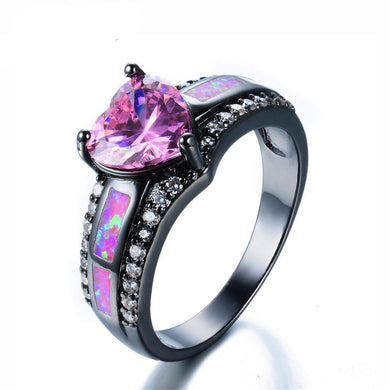 Luxxurio Princess Pink Fire Opal Heart Ring