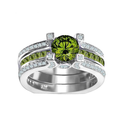 Luxxurio Olive Green Crystal Zircon Ring