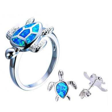 Luxxurio Blue & White Fire Opal Jewelry Turtle Set
