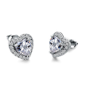 Luxxurios Zirconia Heart Stud Silver Earrings