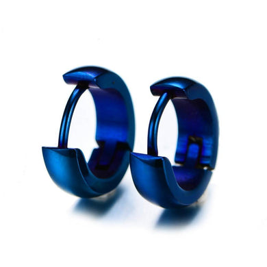 Luxxurio Blue Round Hoop Stainless Steel Earrings