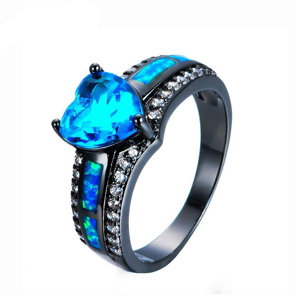 Luxxurio Lake Blue Zircon Opal Heart Ring